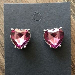Jewelry - Heart Shaped Stud Earrings in Pink with Silver